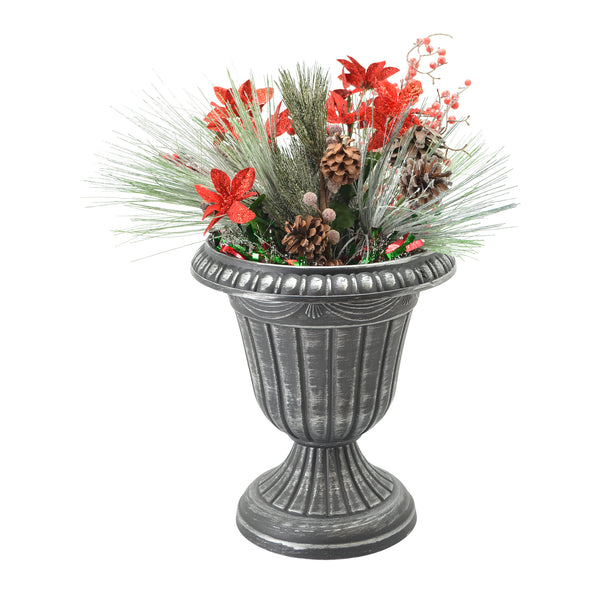 Brushed plastic urn with seasonal display