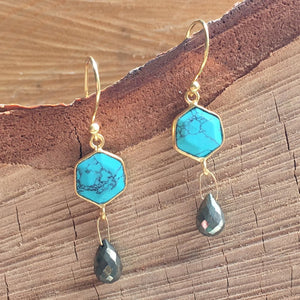 Gemstone with Tear Drop earring