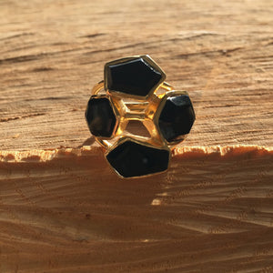 Black onyx organic mosaic ring