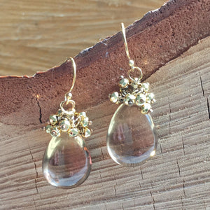 Champagne Citrine earring with gold Pyrite