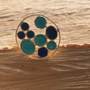 Turqoise and lapis mosaic ring