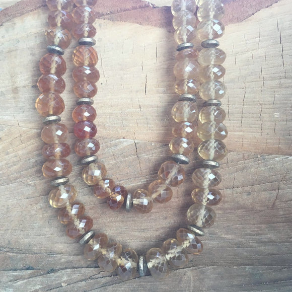 Citrine with vermeil beads