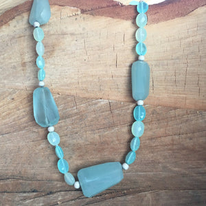 Aqua chalcedony oval shaped beads with aquamarine nuggets