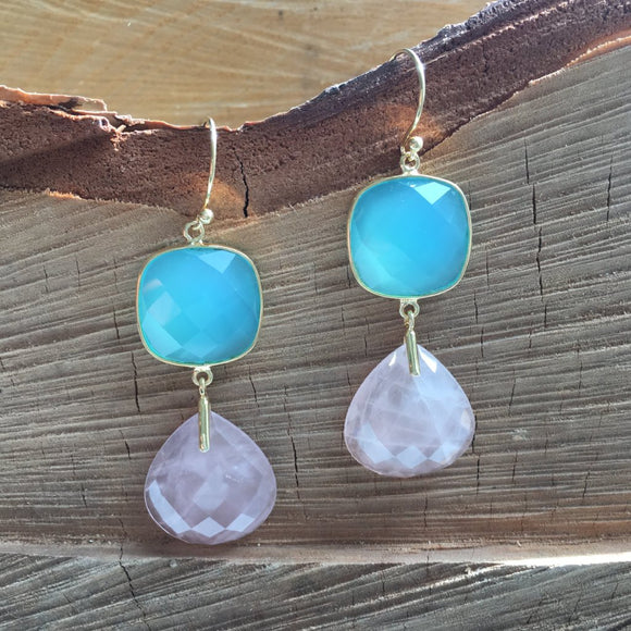 Tear drop rose quartz with cushion cut aqua chalcedony
