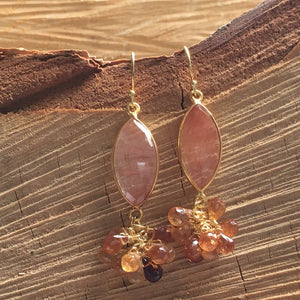 Marquee shaped brown rutilated earring