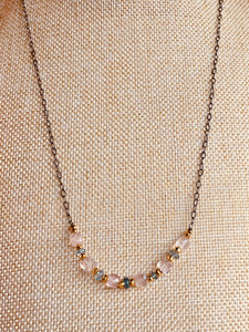 Rose Quartz and Blue Topaz necklace