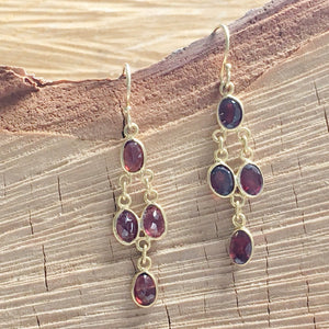 Small chandelier Red Garnet earring