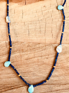 Lapis necklace with Turquoise drops