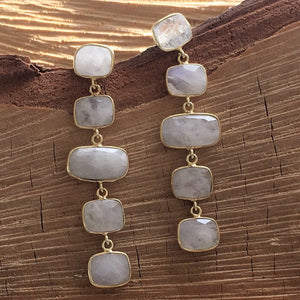 Moonstone five drop earring
