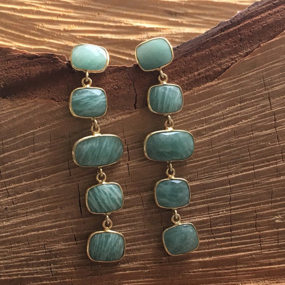 Amazonite five stud earring
