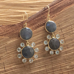 Labradorite and blue topaz sunflower drops