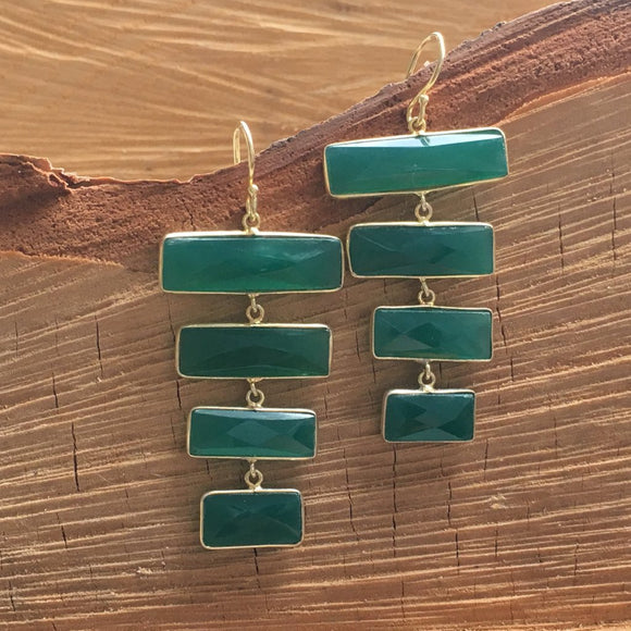Green Onyx rectangular bars earring