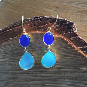 Double chalcedony drop earrings in sterling silver