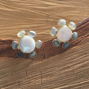 Pearl with labradorite studs