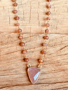 Peach Moonstone with Peach Moonstone pendant