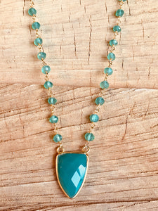 Green onyx necklace with green onyx pendant