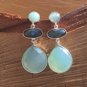 Aqua chalcedony and Labradorite drop earring