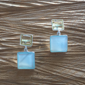 """Two squares"" Lemon topaz and aqua chalcedony earring"