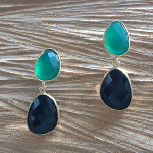 Aqua chalcedony with black onyx double drop