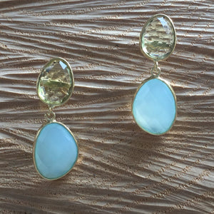 """Double Drop"" Lemon topaz with aqua chalcedony"
