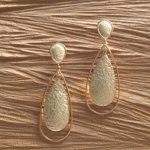 Open - hammered tear drop gold plated