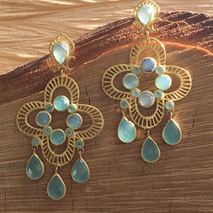 Clover chandelier with aqua chalcedony