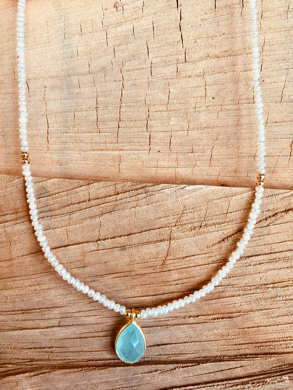 Mother of Pearl with Aqua Chalcedony