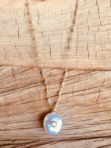 Labradorite with Mother of Pearl necklace