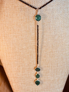 Black Onyx lariat necklace with Emerald