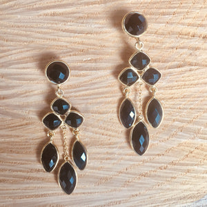 """Chandelier"" black onyx earrings"