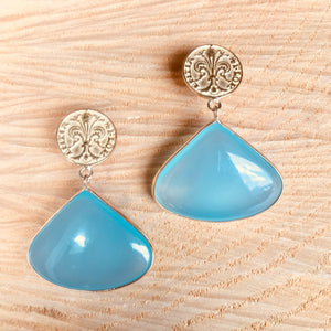 """Large single drop' aqua chalcedony earring"