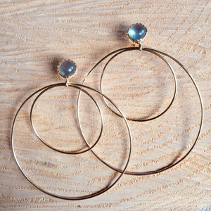 """Ring"" earring with labradorite"