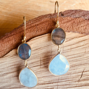 """Double drop"" with Labradorite and Rainbow moonstone"