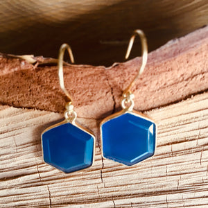 """Hexagon"" shape Blue Chalcedony earring"