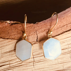 """Hexagon"" shape Rainbow Moonstone earring"