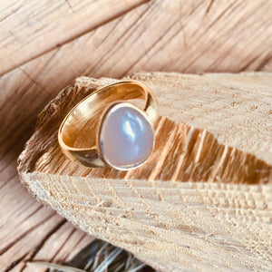 "Light Blue Chalcedony ""one stone"" ring"