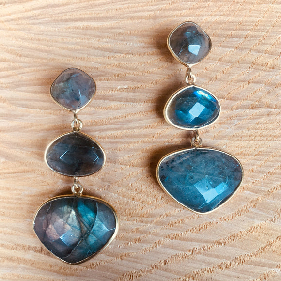 Heart shaped labradorite earring