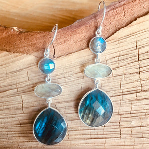 """Triple drop"" earring with Labradorite and Aqua Chalcedony"