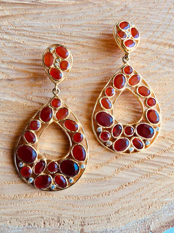 Carnelian 'large' tear drop earring