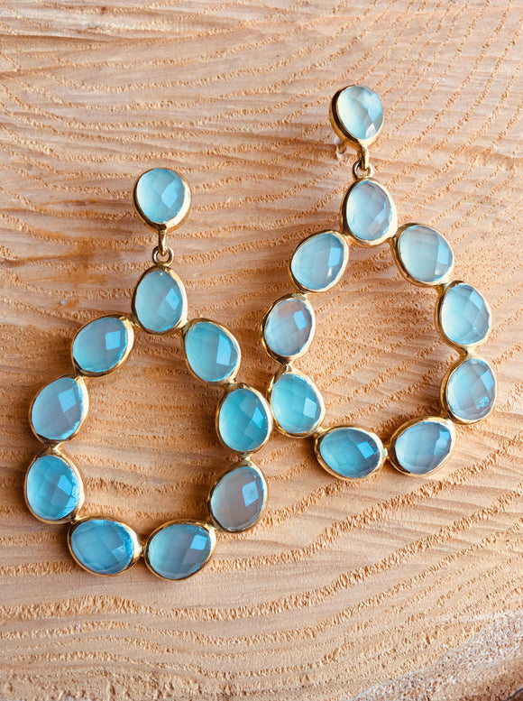 Aqua Chalcedony tear drop earring