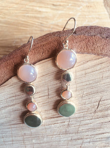 """ Multi drop"" earring with Peach Moonstone"