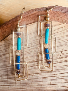 """Tube"" beads earring with Lapis and Turquoise"