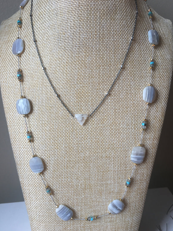 Flat faceted Blue opal necklace