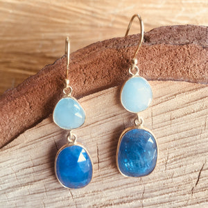 """Double drop"" earrings with aquamarine and tanzanite"