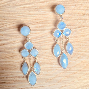 """Chandelier"" rainbow moonstone earrings"