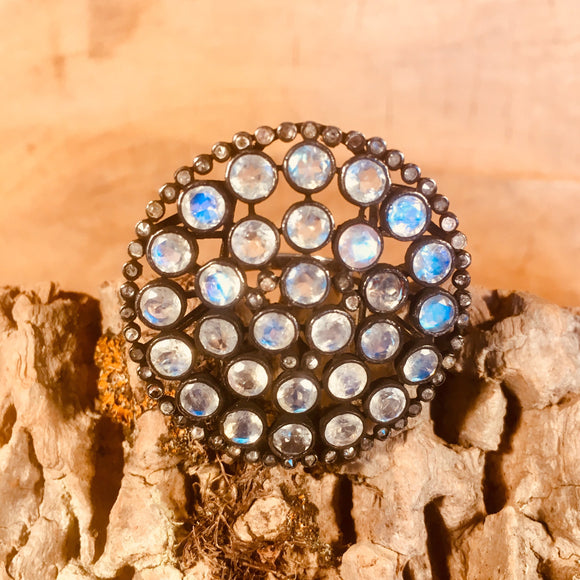 Moonstone with pave diamond ring