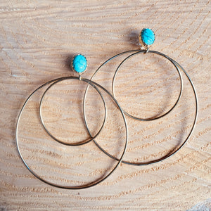 """Ring"" earring with turquoise"