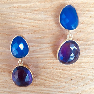 """Double drop"" blue chalcedony and amethyst earrings"