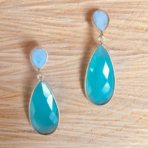 """Double drop"" rainbow moonstone with aqua chalcedony earring"
