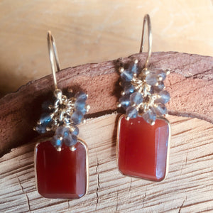 "Carnelian and Smoky qtz ""cluster"" earring"